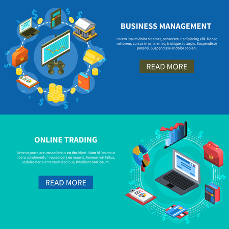 money button: Business management and online trading isometric icons banners with read more button diagrams money computer symbols vector illustration