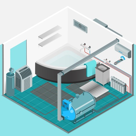 indoors: Heating cooling system interior isometric template with conditioner compressor battery bath in flat style isolated vector illustration