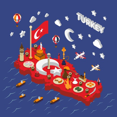 touristic: Turkish touristic attractions red isometric map poster with landmarks traditional food cultural and religious symbols vector illustration