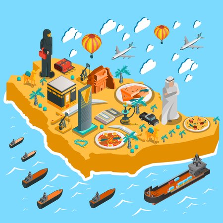 gulf: Saudi Arabia isometric map template with colorful icons and elements in flat style isolated vector illustration