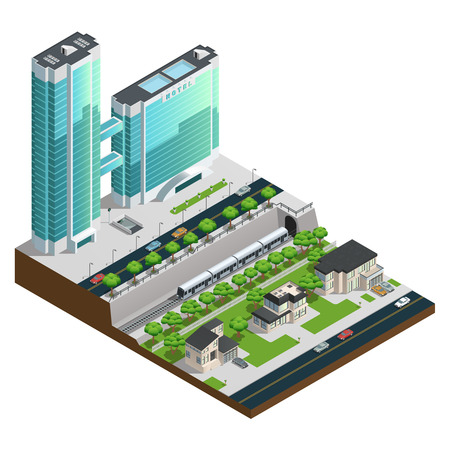 residential zone: Isometric skyscrapers and suburban houses near railway tunnel composition vector illustration