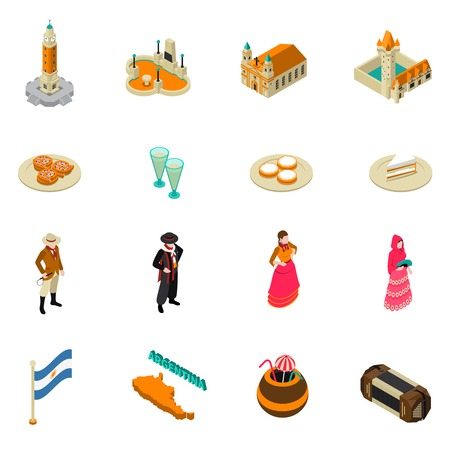 obelisk: Argentina for travelers isometric symbols collection with national cuisine bitter alcohol drink and obelisk monument isolated vector illustration