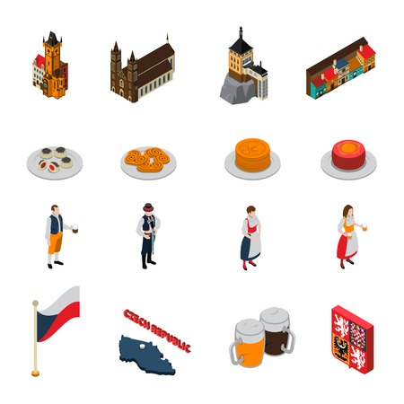 Czech republic national cultural symbols isometric icons collection with flag beer mugs and jewish quarter isolated vector illustration