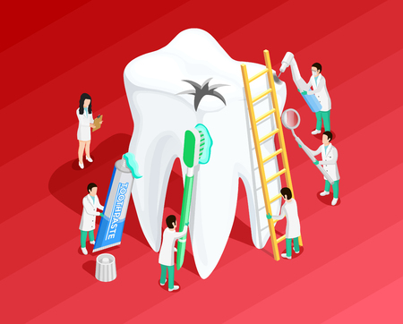 stomatology icon: Medical dental isometric template with sick big tooth and dentists on red background vector illustration Illustration