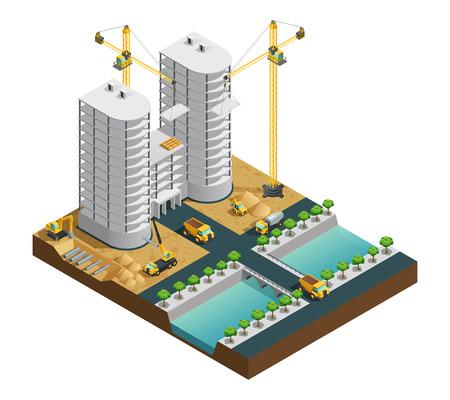 水路構成ホワイト バック グラウンド等尺性ベクター イラストを多く建て近代的な建物の建設プロセス  イラスト・ベクター素材