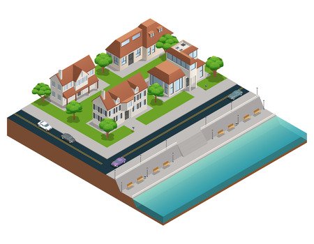 suburban street: Isometric composition with suburban houses near embarkment on white background vector illustration