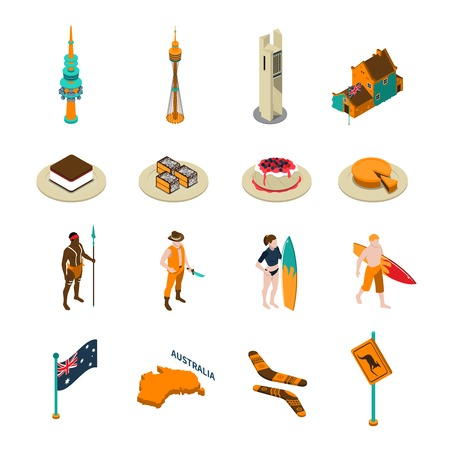 Australian tourists attractions and national symbols isometric icons collection with desserts boomerang and surfers isolated vector illustration Illustration