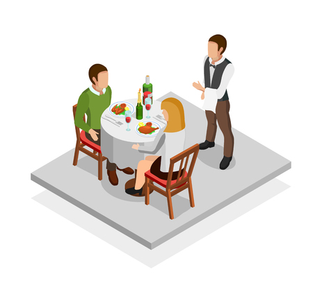 Restaurant meal isometric concept with man woman and waiter vector illustration