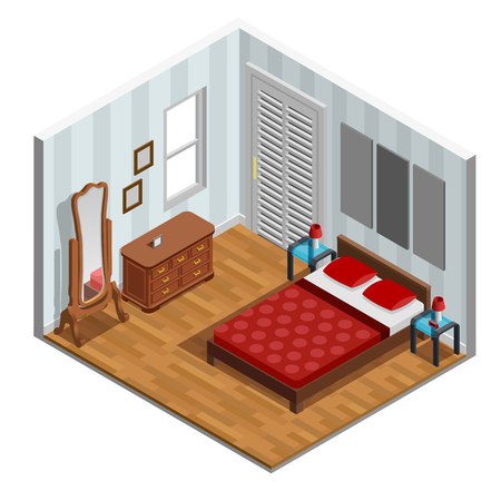 chest wall: Bedroom isometric design with bed mirror lamp and window vector illustration