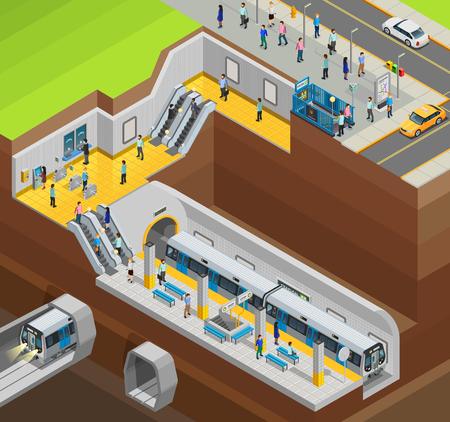 Underground isometrische ontwerp samenstelling met de stad station en de treinen vector illustratie