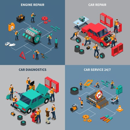 Auto service center 4 isometric icons square composition with diagnostic and car maintenance units isolated vector illustration