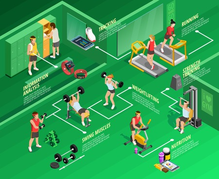 analisys: Gym isometric infographics with physical exercises titles people and sports equipment on green background vector illustration