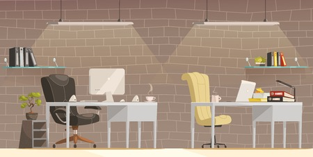 office environment: Modern lighting design solutions for offices comfortable and creative workspace environment cartoon poster brick wall background vector illustration