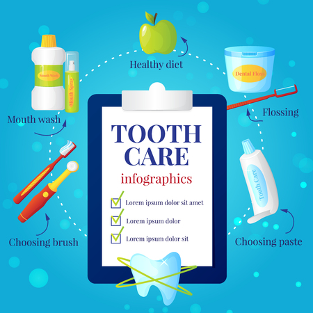 choosing: Dental care infographic set with choosing brush and paste symbols flat vector illustration