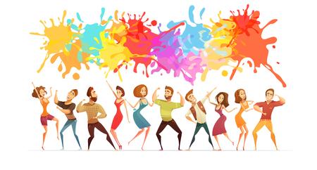 Feestelijke poster met heldere verfspatten en cartoonfiguren in hedendaagse dans vormt abstracte vectorillustratie