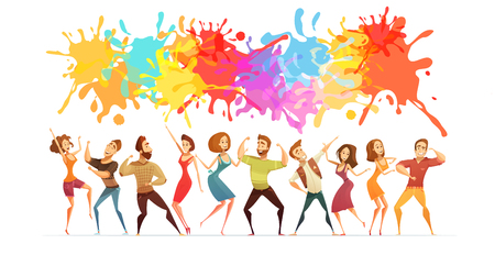 Festive poster with bright paint splashes and cartoon people figures in contemporary dance poses abstract vector illustration