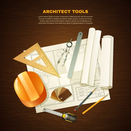 construction projects: Construction background with architect tools for drawing projects on wooden table flat vector illustration Illustration
