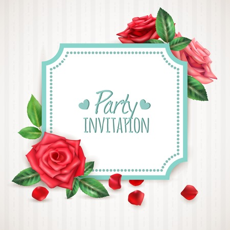 dinner date: Realistic invitation background with blooming roses petals and buds vector illustration Illustration