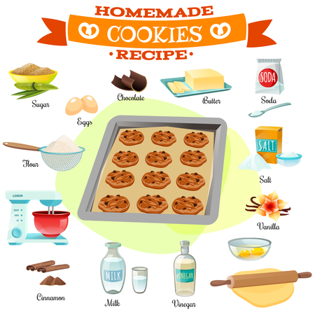 baking: Flat design baking ingredients and recipe for delicious homemade chocolate cookies isolated vector illustration Illustration