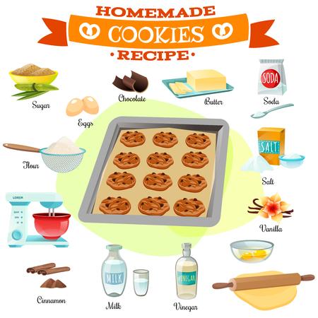 Platte ontwerp bakken ingrediënten en recepten voor heerlijke zelfgemaakte chocolade cookies geïsoleerd vector illustratie Vector Illustratie