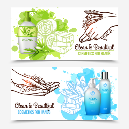 Horizontal healthcare flat banners with organic cosmetics for hands washing isolated on white background vector illustration