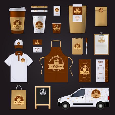 Café diseño de identidad corporativa para el café con gafas de menú coche uniformes en colores marrones y blancos aislados sobre fondo negro ilustración vectorial plana