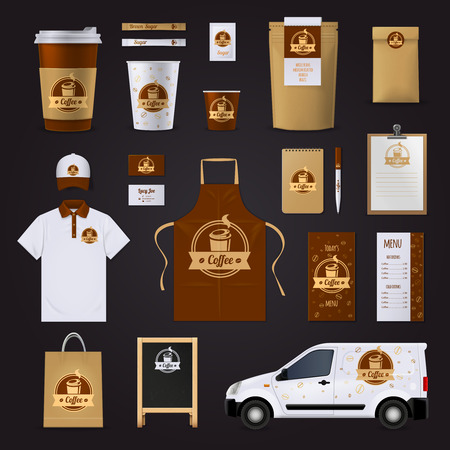 Coffee corporate identity design for cafe with uniform car menu glasses in brown and white colors isolated on black background flat vector illustration