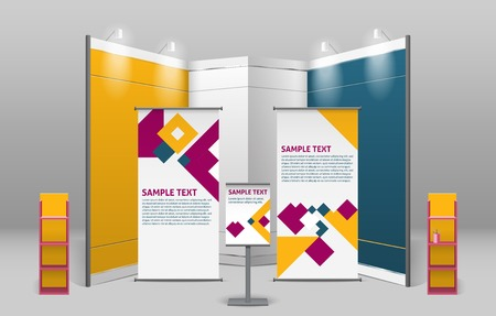 exhibitions: Advertising exhibition stand design with promotional elements in corporate identity style isolated vector illustration Illustration
