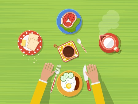 Fried eggs bread and butter steak hot kettle and coffee on kitchen table top view poster vector illustration Illustration