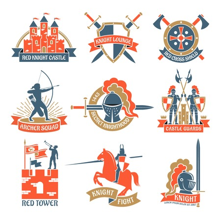 knighthood: Historical and fairy heraldic emblems and labels set with knights towers and archers flat isolated vector illustration Illustration