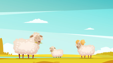 pastures: Domestic sheep breeding and raising farm pasture funny cartoon poster with grazing ram and lamb vector illustration