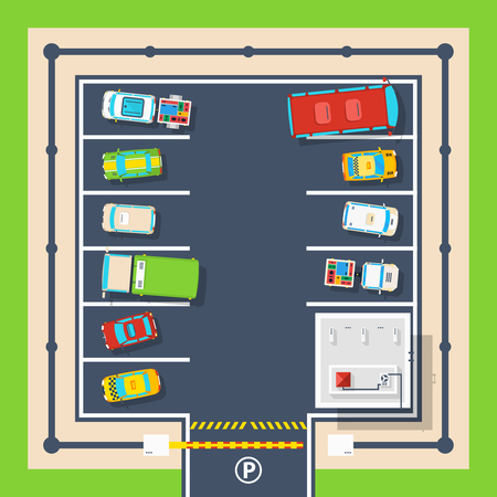 slot car track: Poster of closed parking area with barrier administration building and different vehicles top view flat vector illustration