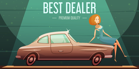 selling service: Best selling vintage cars dealer premium service low prices retro advertisement poster with girl cartoon vector illustration