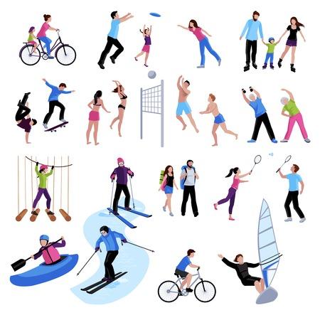 Actifs gens de loisirs ensemble d'icônes de différents sports d'été et d'hiver jeux dans le vecteur isolé de style plat illustration Banque d'images - 67583734