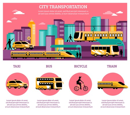 high speed train: City transportation infographics layout with statistic information about different kinds of   transport so as taxi bus train and bicycle flat vector illustration Illustration