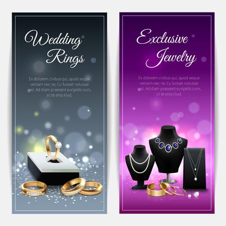 banderas realistas grises y púrpuras verticales con anillos de boda y joyas exclusivas ilustración vectorial