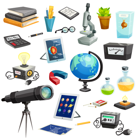 objects equipment: Science elements cartoon set of colorful school and scientific objects and equipment isolated vector illustration Illustration