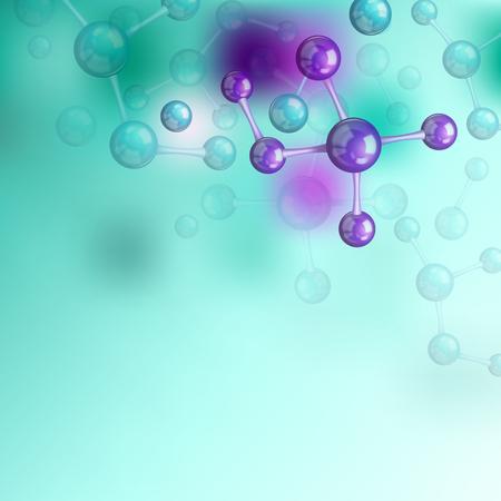symbole chimique: Laboratoire composition décorative avec la molécule de couleur symbole chimique scientifique vecteur plat illustration Illustration