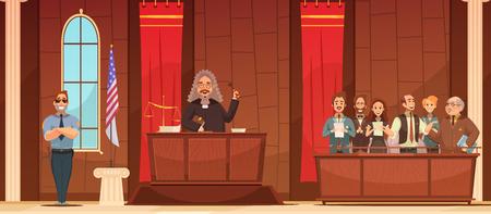 jurado: tribunal estadounidense judicial procedimiento judicial en juzgado con juez y jurado cuadro cartel retro ilustración vectorial Vectores