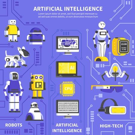 Kunstmatige intelligentie infographics lay-out met informatie over robots en producten van high-tech technologie en innovaties plat vector illustratie