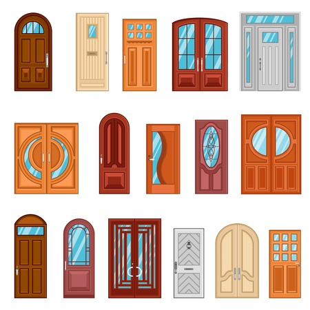 peephole: Design collection of detailed colorful front and interior doors to private houses and public buildings flat vector illustration