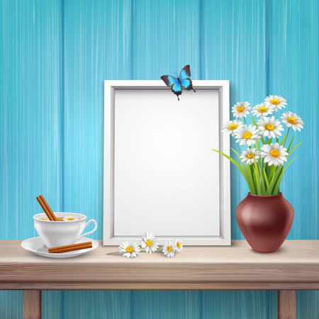 vase of flowers: Light frame mockup with cup vase flowers and butterfly in realistic style vector illustration