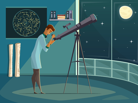 observing: Astronomer scientist observing moon in night sky  through open window with telescope   retro cartoon poster vector illustration Illustration