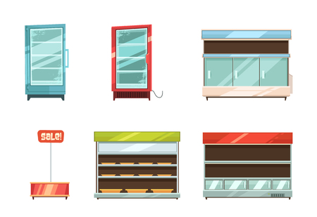 frozen meat: Supermarket and grocery stories display racks aisle refrigerator and sale stand retro cartoon icons collection isolated vector illustration