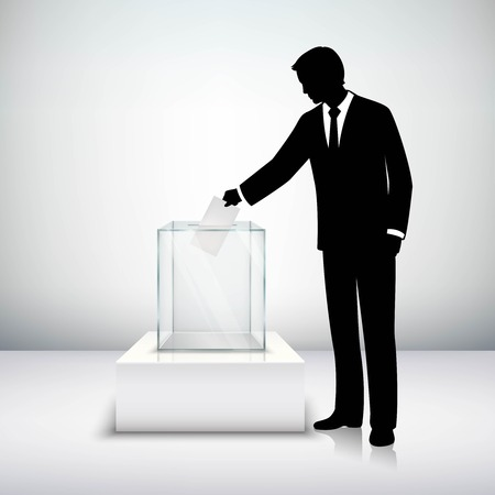 voting: Voting election concept with man silhouette putting vote paper in the ballot box isolated vector illustration