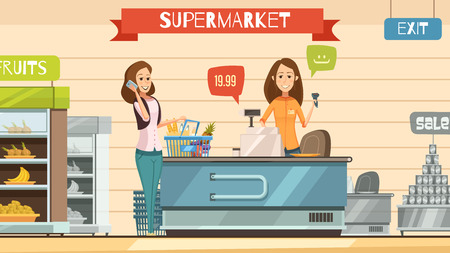 grocery shelves: Supermarket store cashier and customer with grocery basket at cash register retro cartoon poster vector illustration