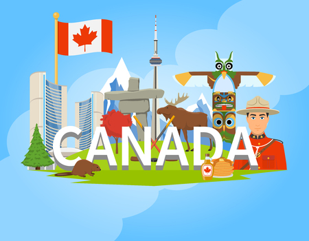 Canadian national cultural symbols landmarks and places of interest for tourists flat composition background poster vector illustration