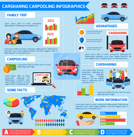 advantages: Carsharing carpooling infographics with advantages diagrams vehicles and colorful elements in flat style illustration