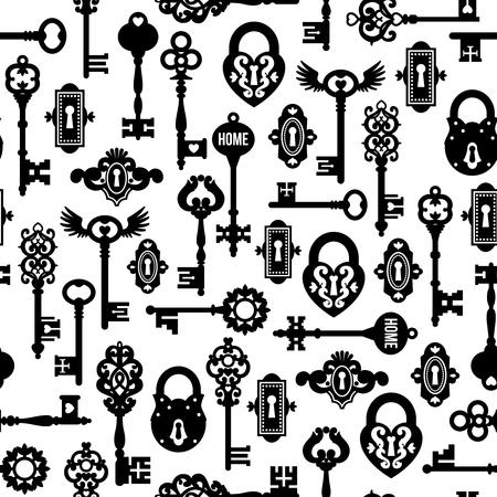 keys isolated: Keys and locks seamless pattern in vintage style isolated illustration