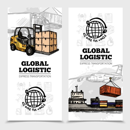 global logistics: Global logistics vertical with land sea air vehicles and delivery icons illustration Illustration